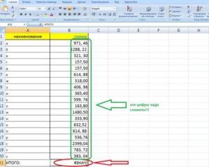 Программа Microsoft Excel: подсчет суммы