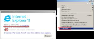 Internet Explorer. Просмотр версии продукта