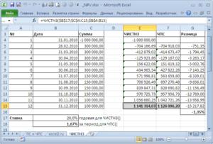 Вычисление NPV в Microsoft Excel