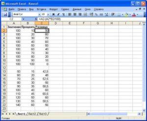 Microsoft Excel: вычитание процентов