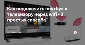 Подключение ноутбука к телевизору через Wi-Fi