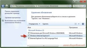 Удаление Internet Explorer на компьютере с Windows 7