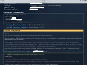 Переписка со службой поддержки Steam