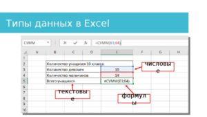 Работа с типами данных в Microsoft Excel