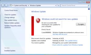 Как исправить ошибку Windows update с кодом 800b0001 в Windows 7