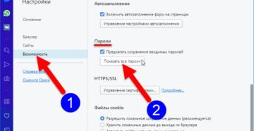 Сохранение паролей в браузере Opera